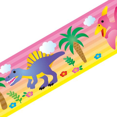 マスキングテープ:A003:恐竜 火山(ピンク)