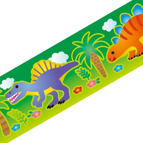 マスキングテープ:A004:恐竜 火山(グリーン)