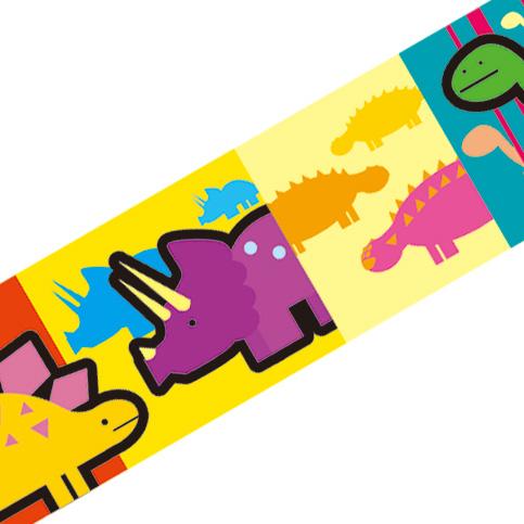 マスキングテープ:A027:恐竜 カラフル
